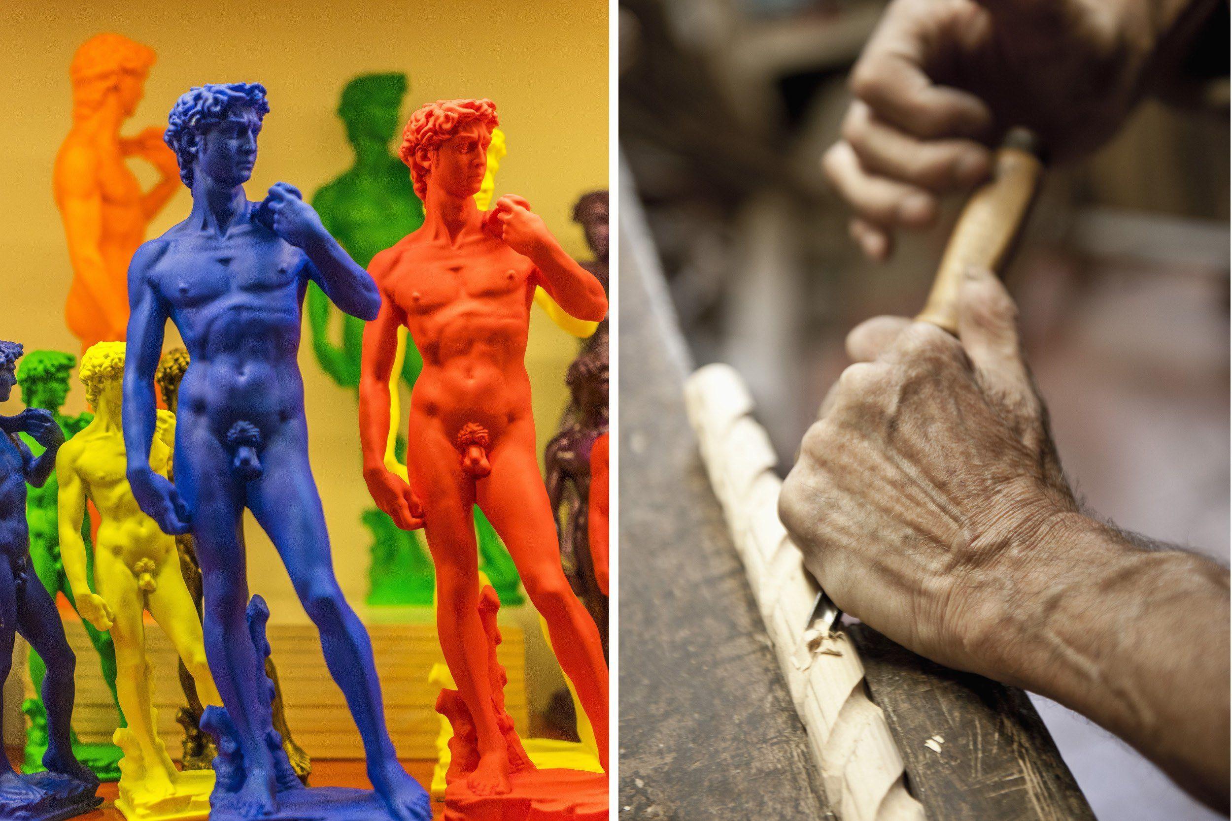 Florentiner Kunsthandwerk: links, Michelangelos David in den Trendfarben der Saison, rechts die Werkstätten San Frediano