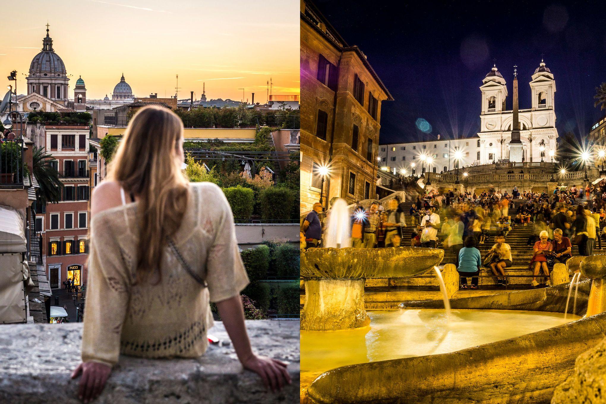 Romantischer Hotspot: die Piazza di Spagna. Auf einer kleinen Mauer lassen sich herrliche Sonnenuntergänge genießen (links), während die Spanische Treppe (rechts) bei Honeymoonern beliebt ist
